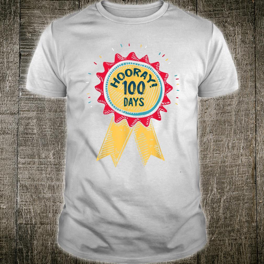 100 Days Of School Hooray Ribbon Teacher Cool Student Shirt