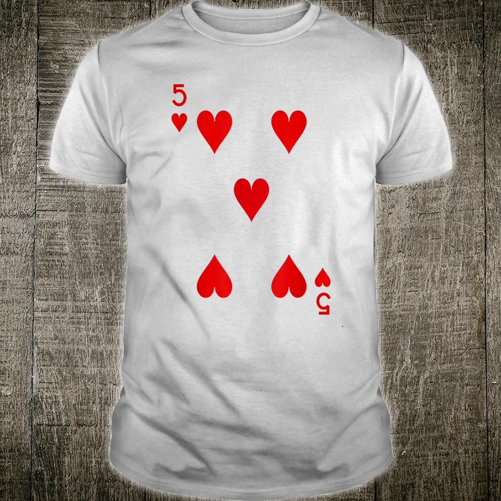 5 Hearts Playing Card Poker Costume Shirt