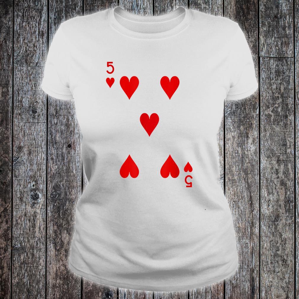 5 Hearts Playing Card Poker Costume Shirt ladies tee