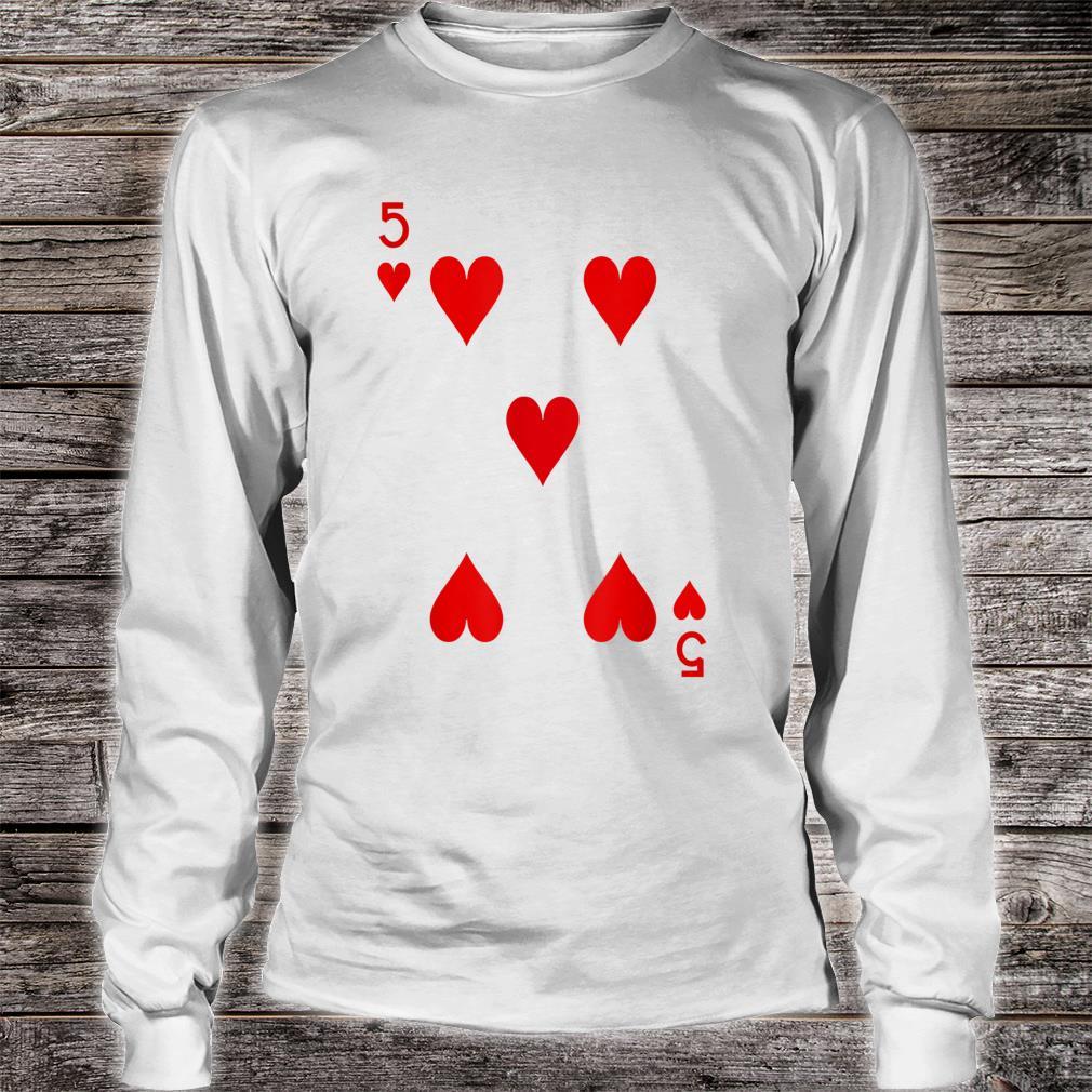5 Hearts Playing Card Poker Costume Shirt long sleeved