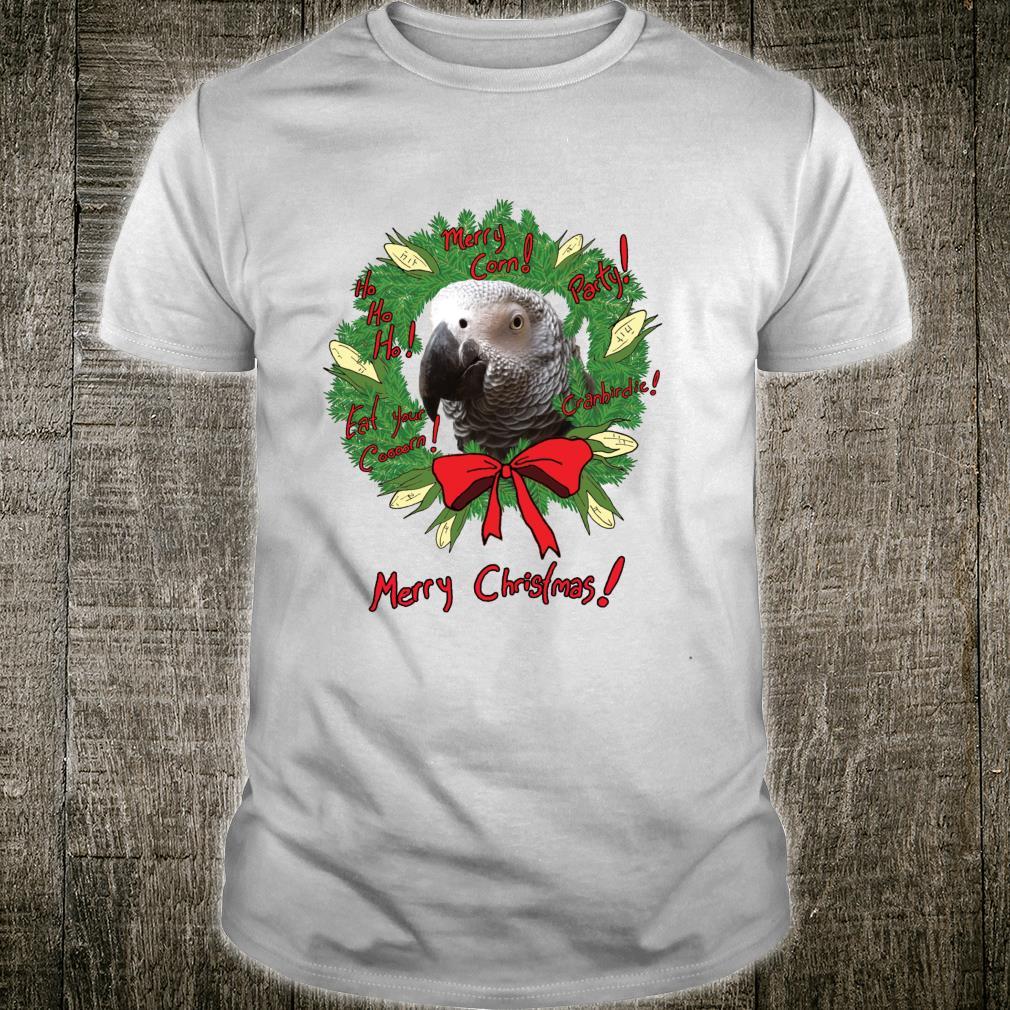 African Grey Parrot Merry Corn Christmas Wreath Shirt