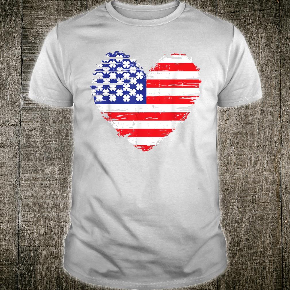 American Flag Heart St Patricks Day Cool Shamrock Irish Shirt