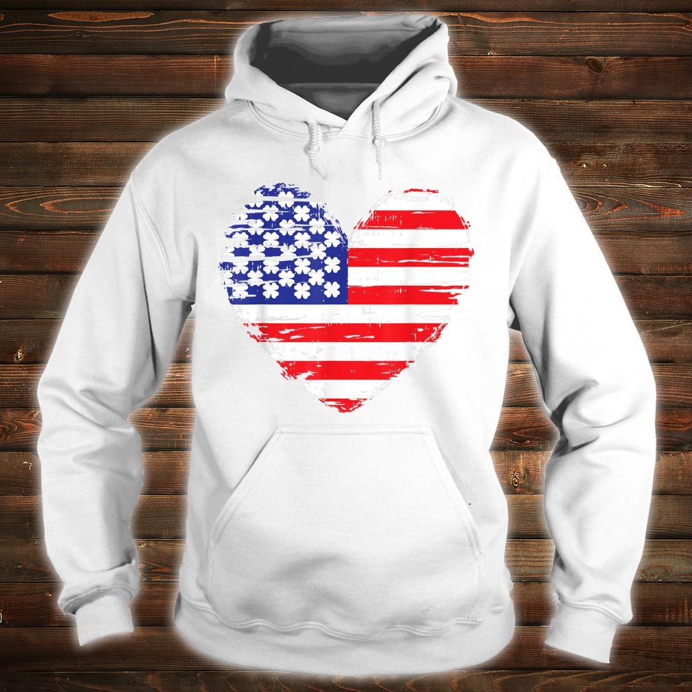 American Flag Heart St Patricks Day Cool Shamrock Irish Shirt hoodie
