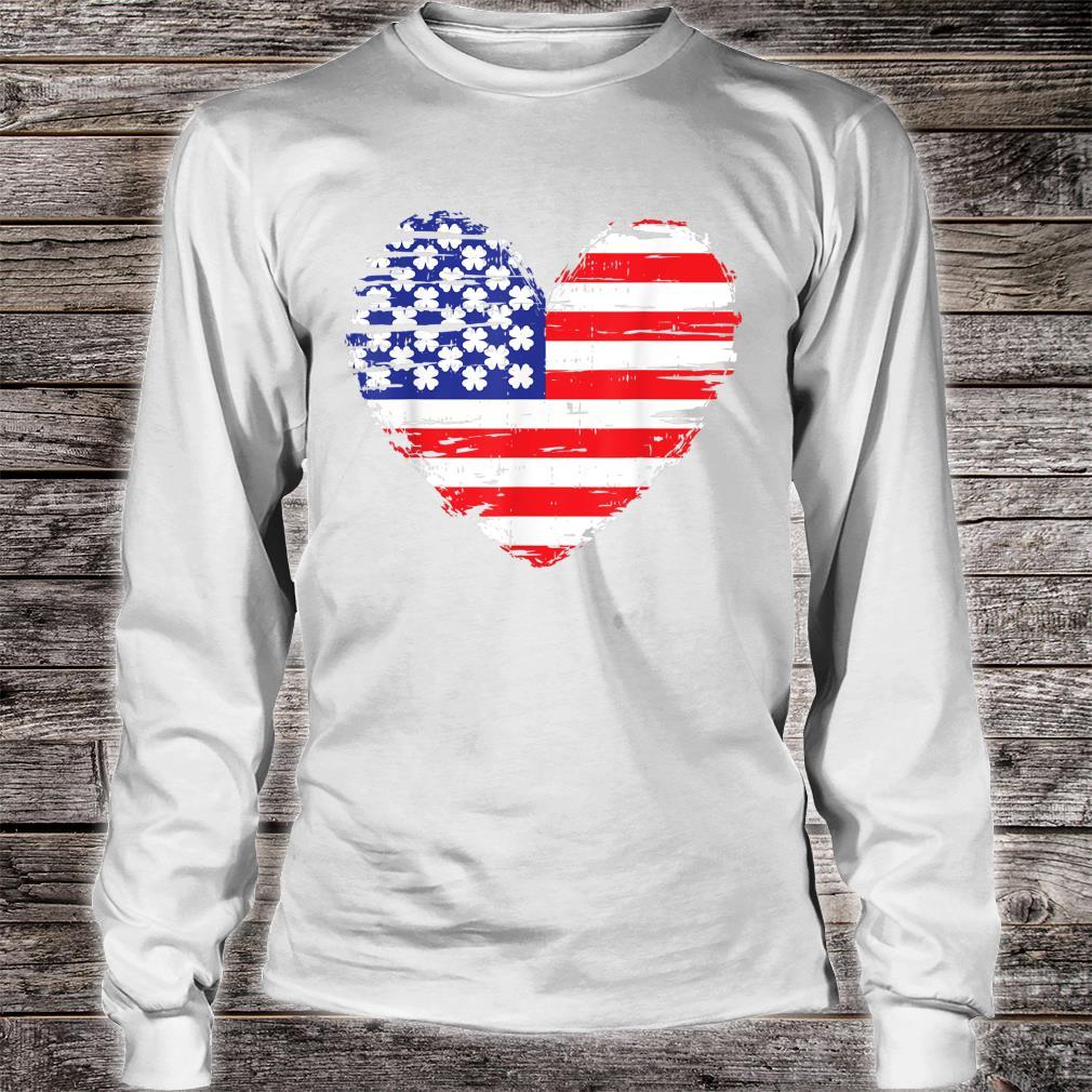 American Flag Heart St Patricks Day Cool Shamrock Irish Shirt long sleeved