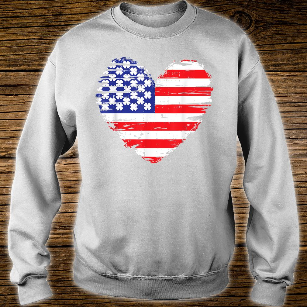 American Flag Heart St Patricks Day Cool Shamrock Irish Shirt sweater