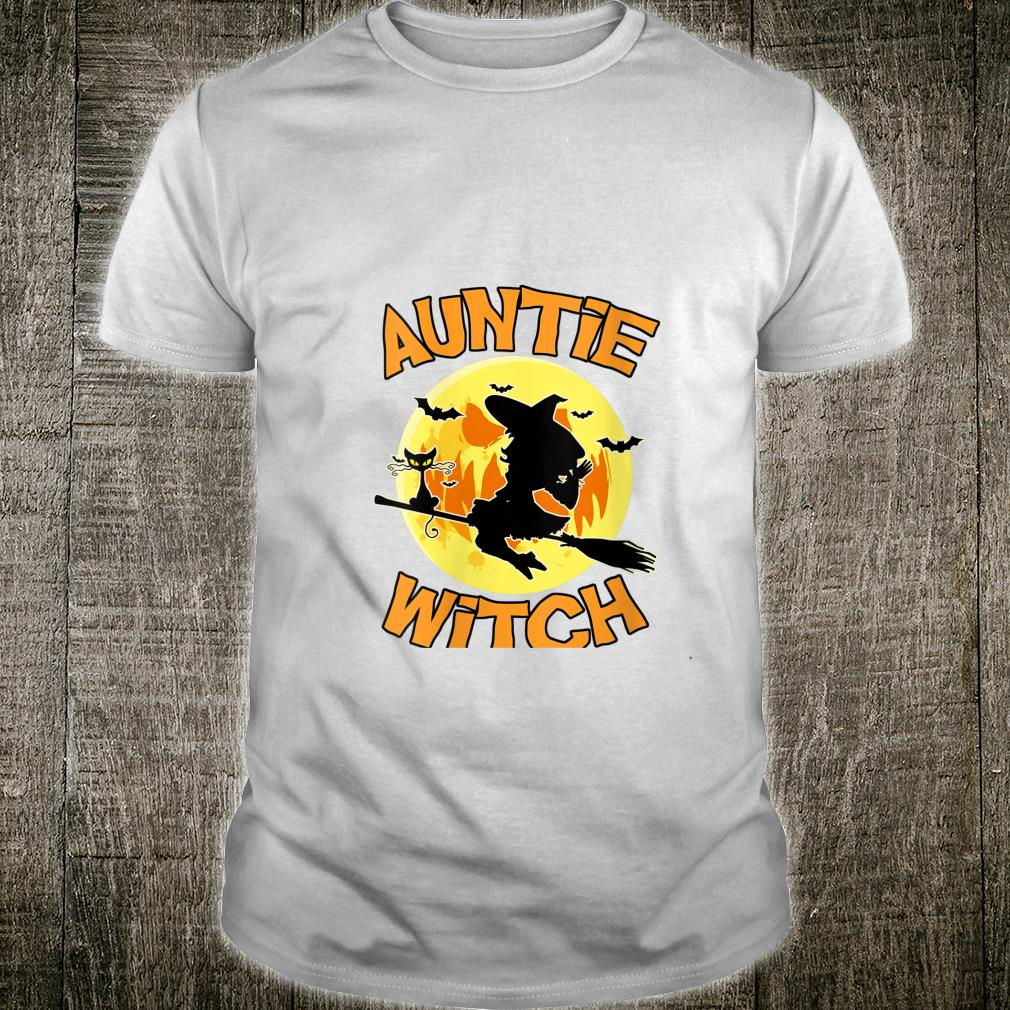 Auntie Witch Black Cat Flying Broom Witch Halloween Shirt