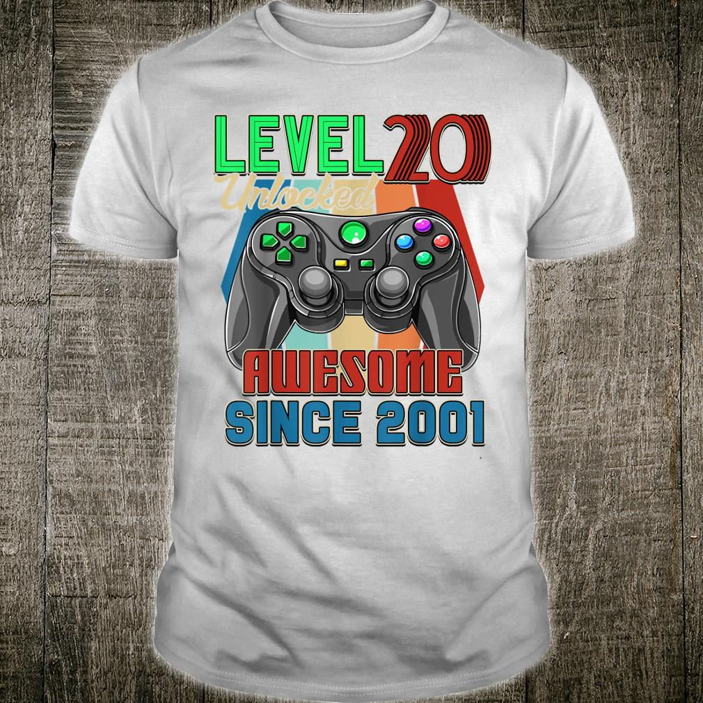 Awesome Since 2001 Level 20 Unlocked Birthday 20 Years Old Shirt