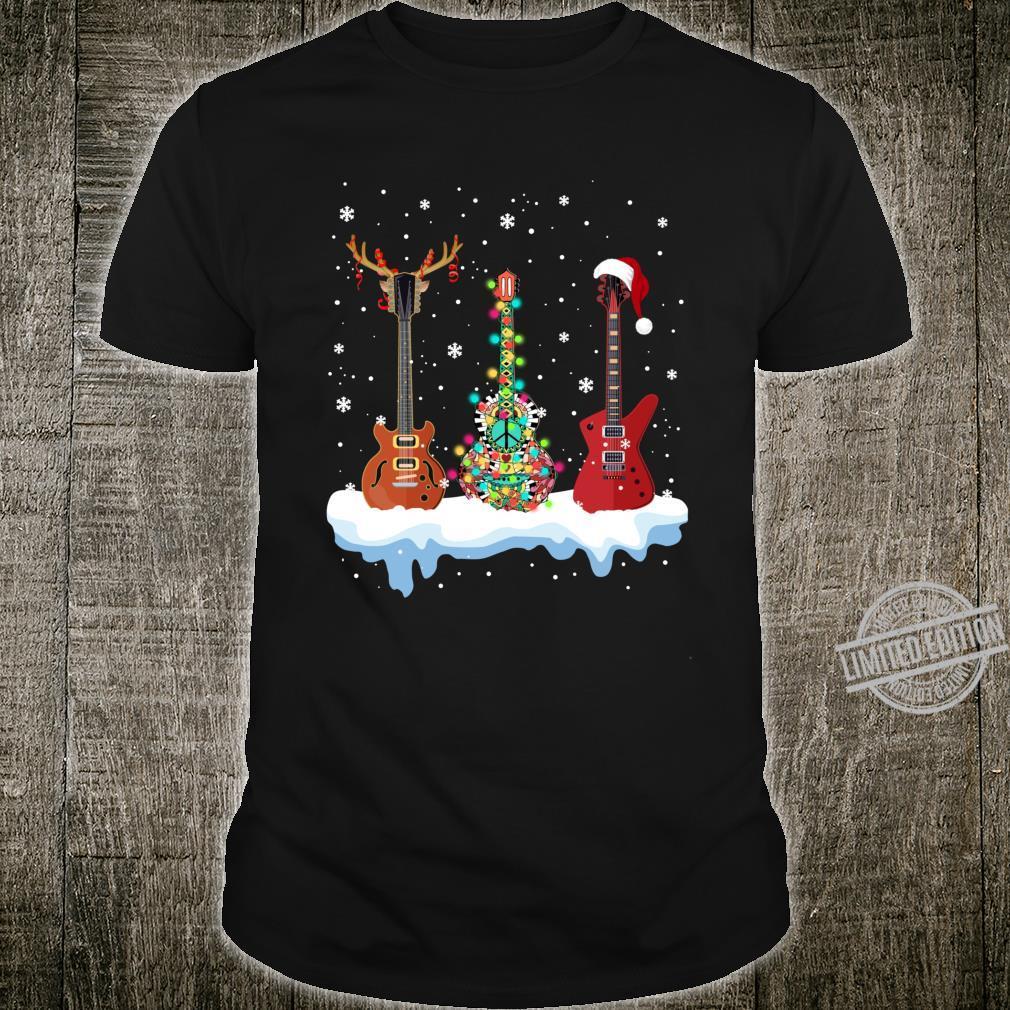 Bass Guitar Santa Hat Reindeer Hippie Guitar Christmas Shirt
