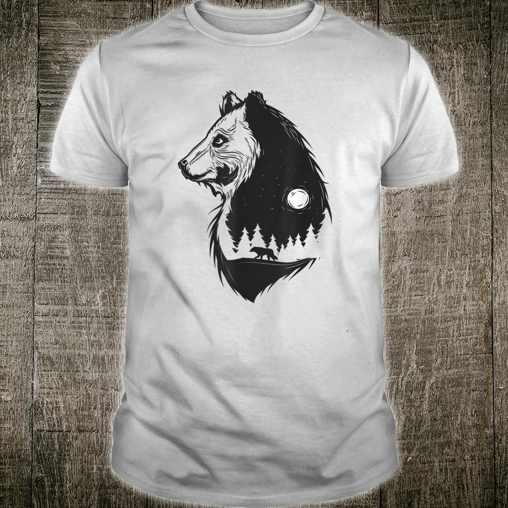 Bear Silhouette Wolf Walking In Forest Cute Wolf Shirt