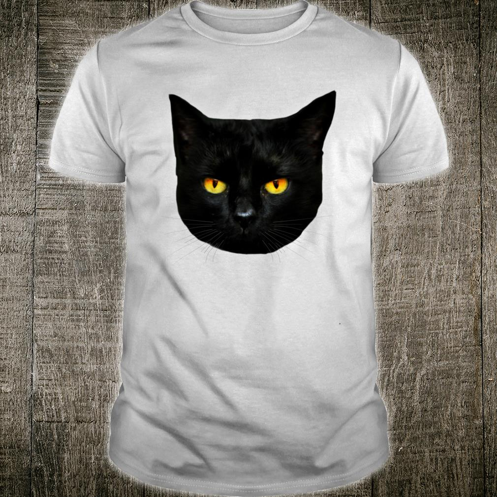 Black Cat Head Big Yellow Eyes Straight Ears Mysterious Dark Shirt