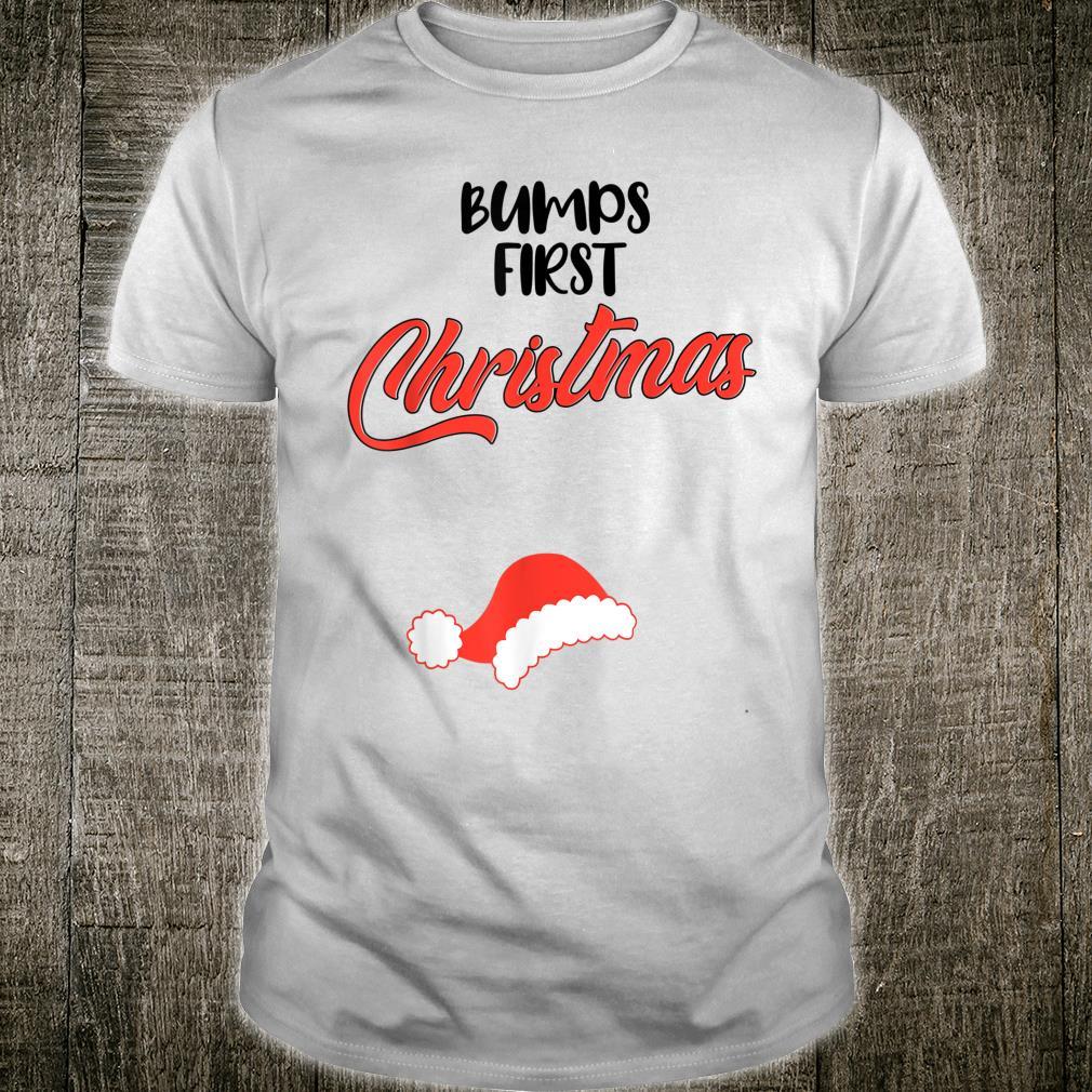 Bumps First Mom Pregnant Christmas Pregnancy Announcement Shirt