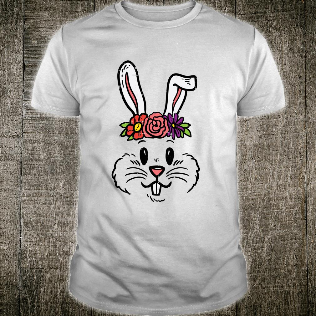 Bunny Rabbit Face Flowers Head Cute Easter Day Girls Shirt