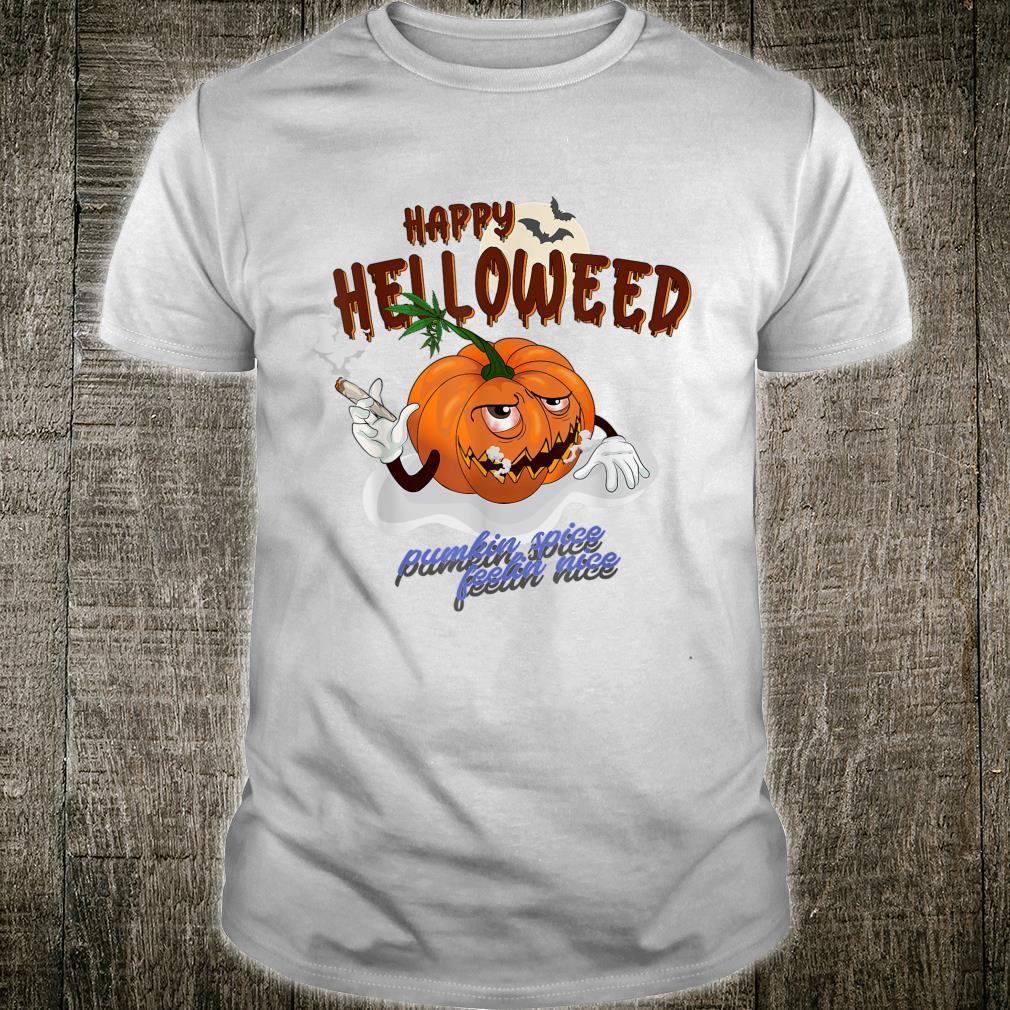 Cannabis Grass Weed THC Joint Stoned Halloween Pumpkin Monster Shirt
