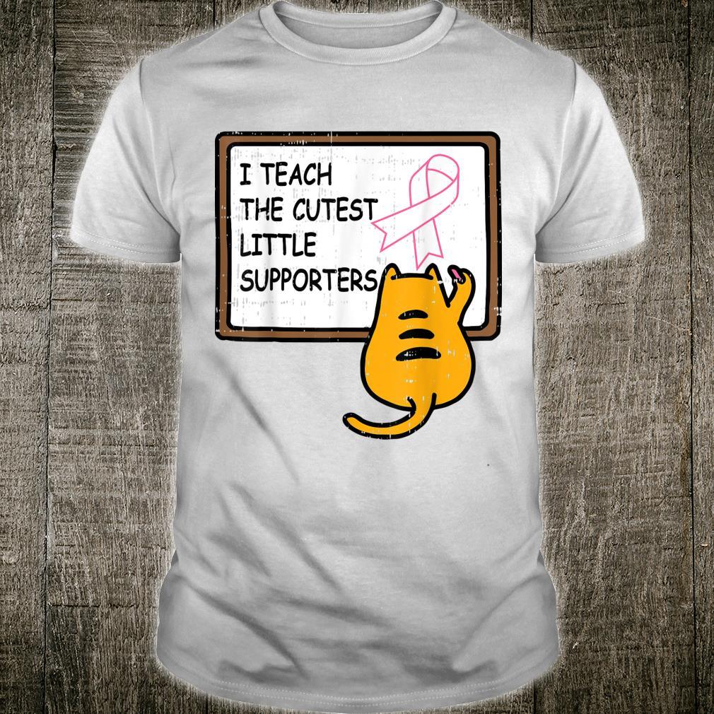 Cat Prek Teacher Pink Cute Breast Cancer Awareness Shirt