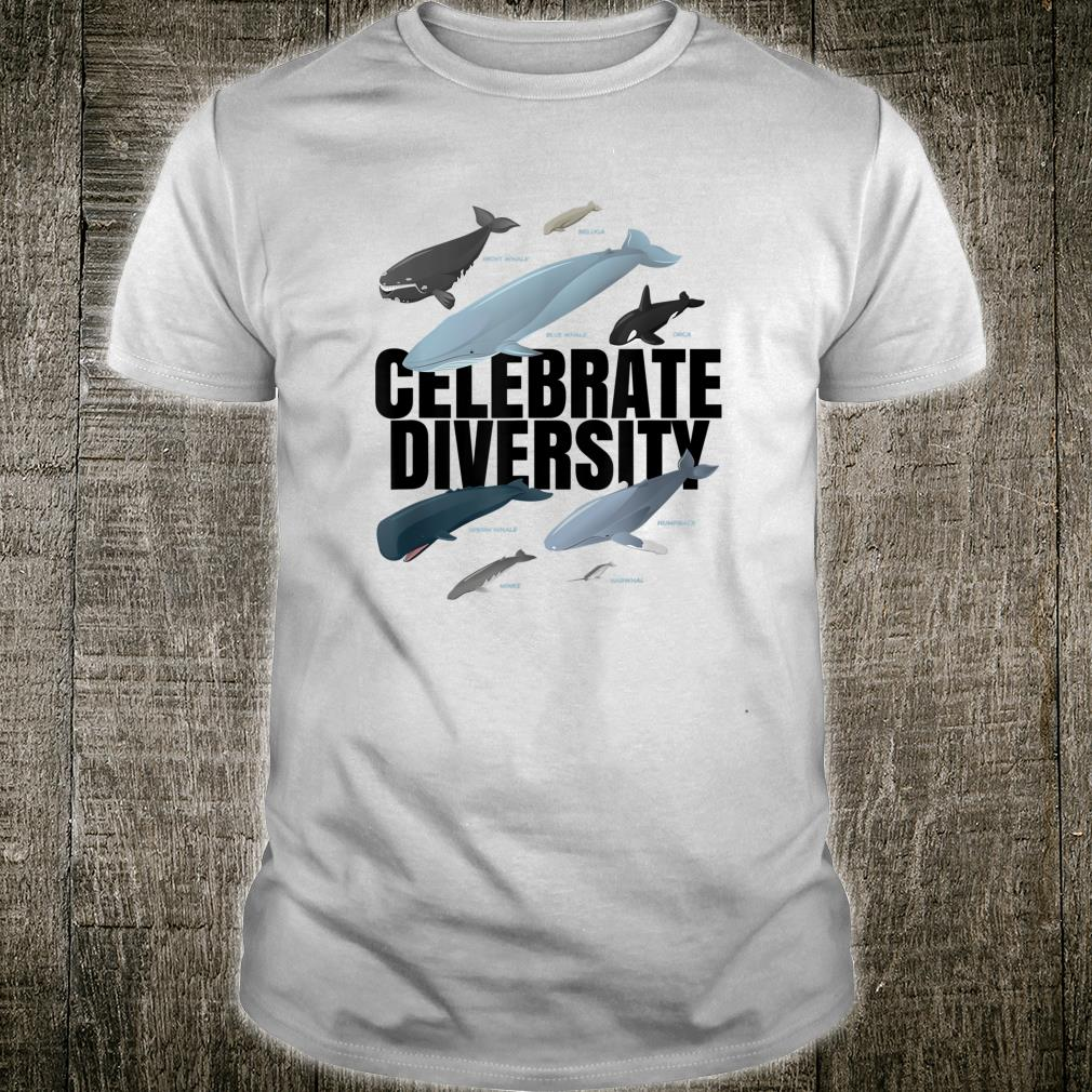 Celebrate Diversity Types of Whales for Whales Shirt