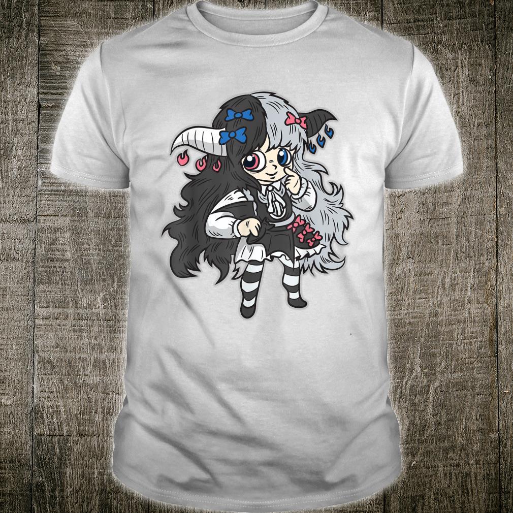 Chibi Mädchen Kawaii Goth schwarz Weiß Cartoon Comic Shirt