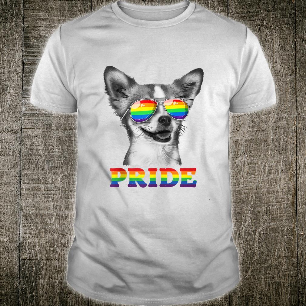 Chihuahua Gay Pride LGBT Rainbow Flag Sunglasses LGBTQ Shirt