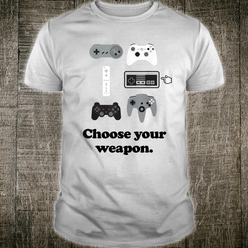 Choose Your Weapon Boys Gaming Video Gamer Shirt