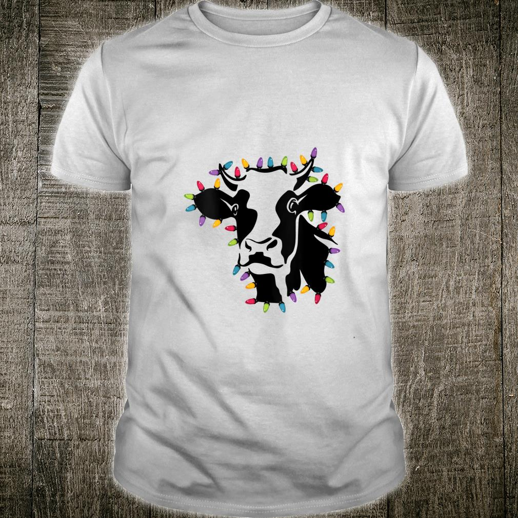 Christmas Cow Wrapped In Colored String Lights Shirt