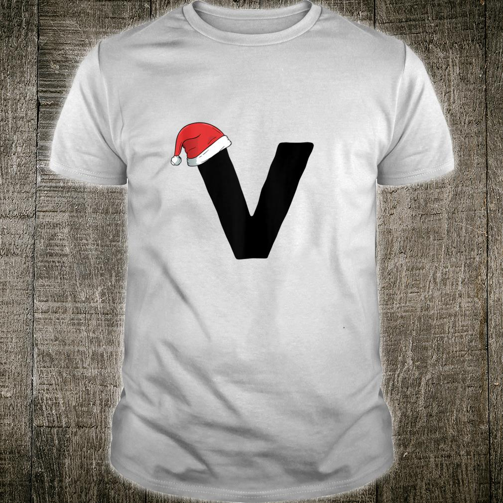 Christmas Initial V with Santa Hat Birthday New Year Shirt