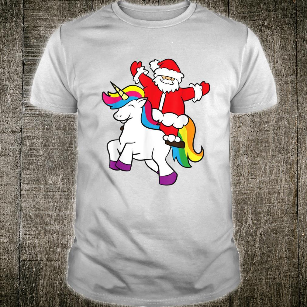 Christmas Santa Riding Unicorn Xmas Girls Unicorn Shirt