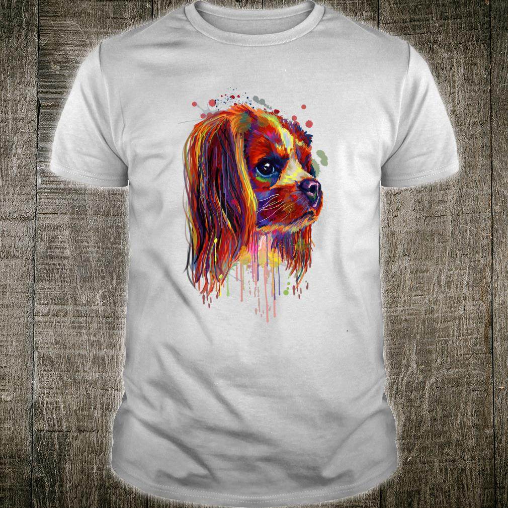 Colorful Cavalier Hand Drawn Dogs Owner Painting Shirt