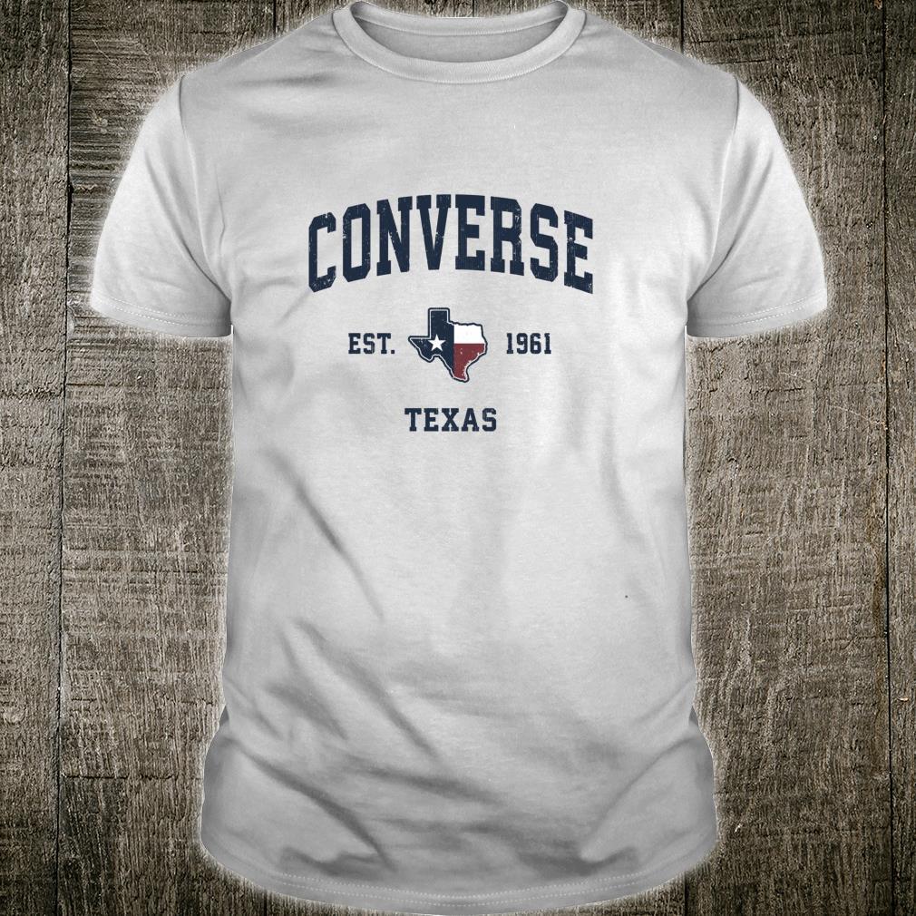Converse Texas TX Vintage State Flag Sports Navy Design Shirt