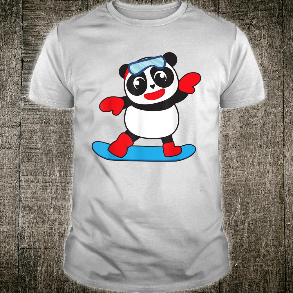 Cool Snowboarding Panda Snow Surfing Winter Shirt