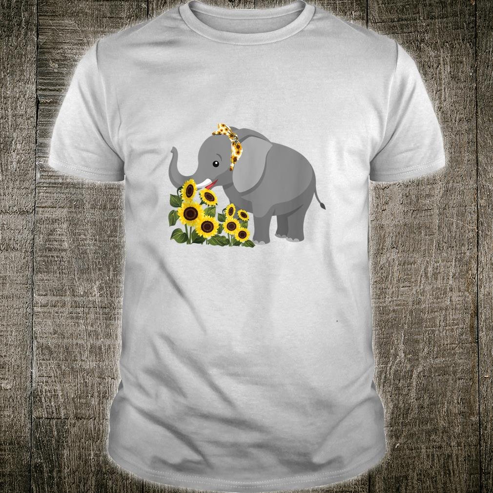 Cute Love Elephant Sunflower Elephant Shirt