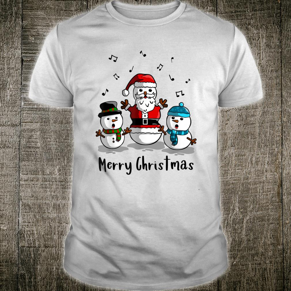Cute Santa Snowman Caroling Music Merry Christmas Light Shirt