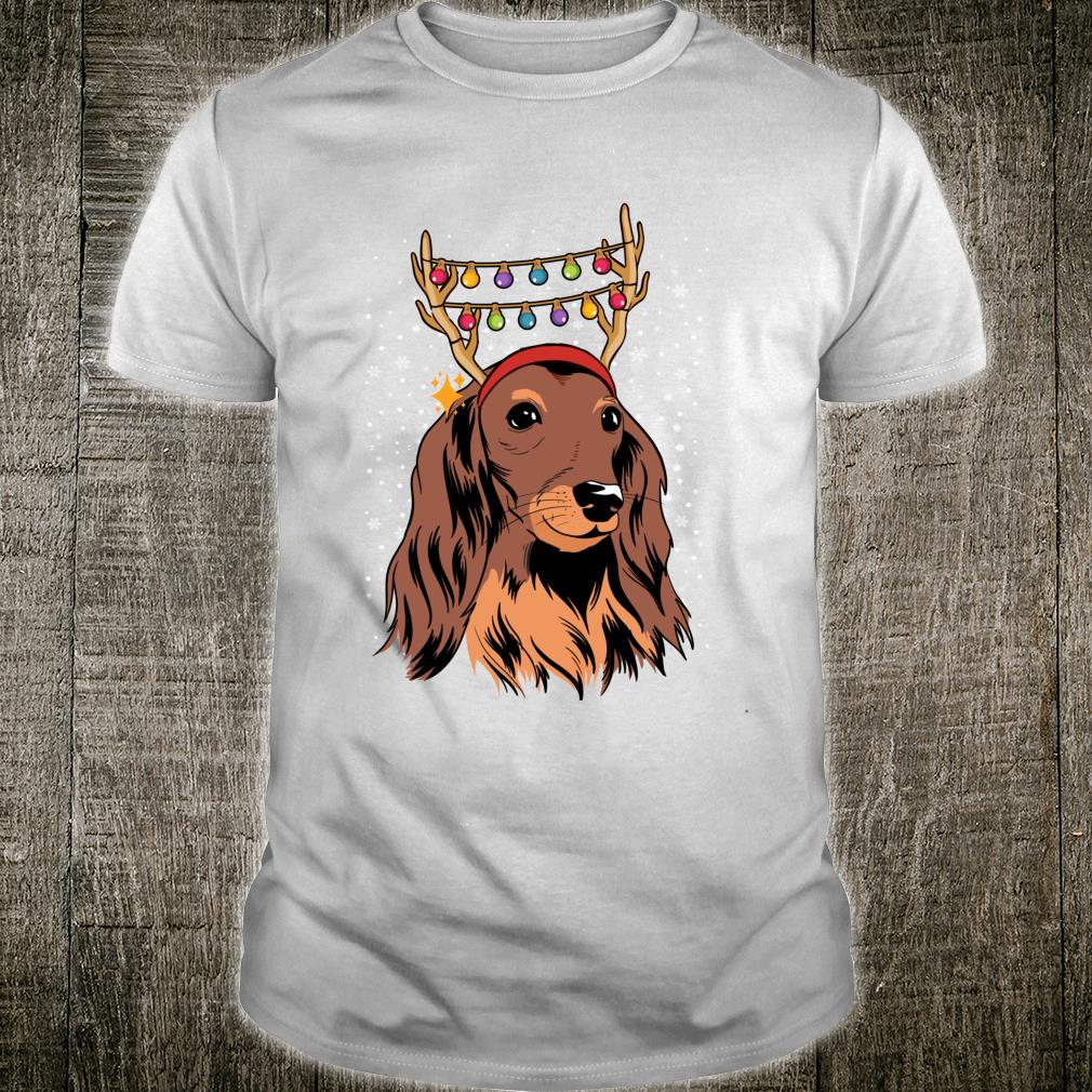 Dachshund Long Hair Reindeer Christmas Tree Lights Xmas Shirt