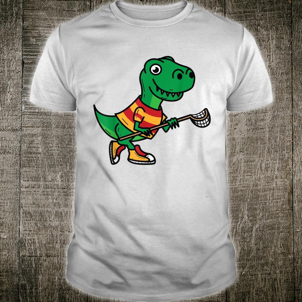 Dinosaur Playing Lacrosse Cool Dino Team Sport Shirt