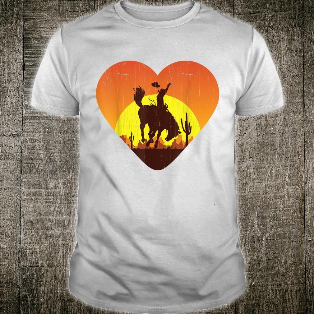Distressed heart shape Cowboy riding horse sunset mountains Shirt