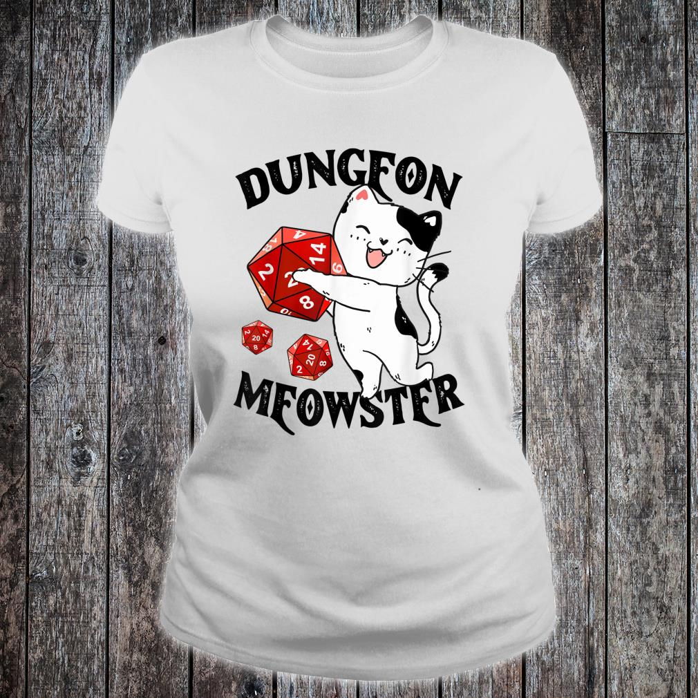 Dungeon Meowster Nerdy Cat Gamer Shirt ladies tee