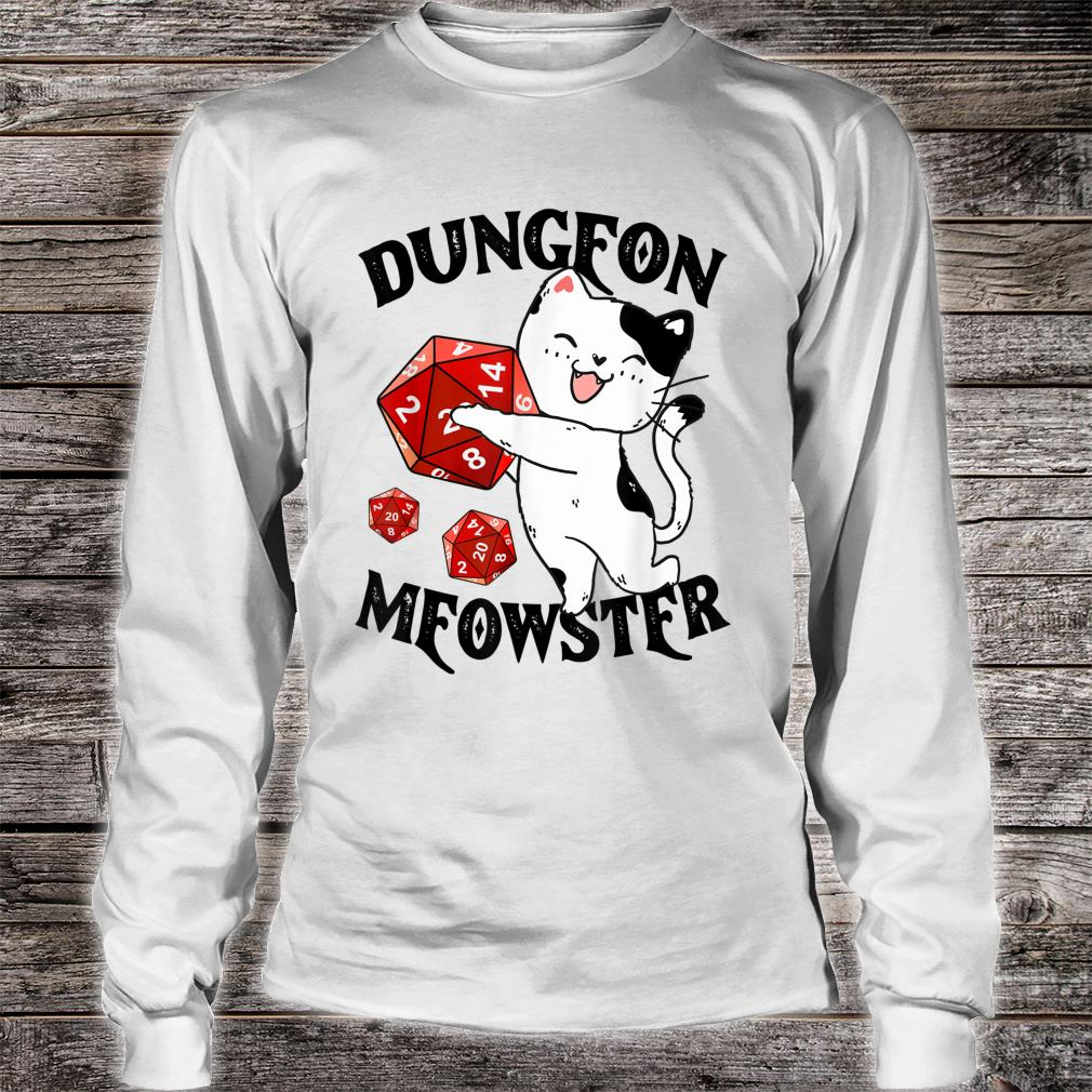 Dungeon Meowster Nerdy Cat Gamer Shirt long sleeved