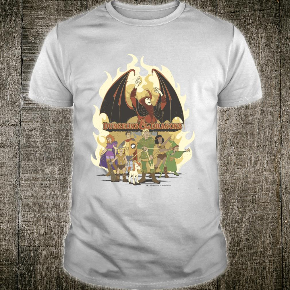 Dungeons And Dragons Group Shot Flame Shirt