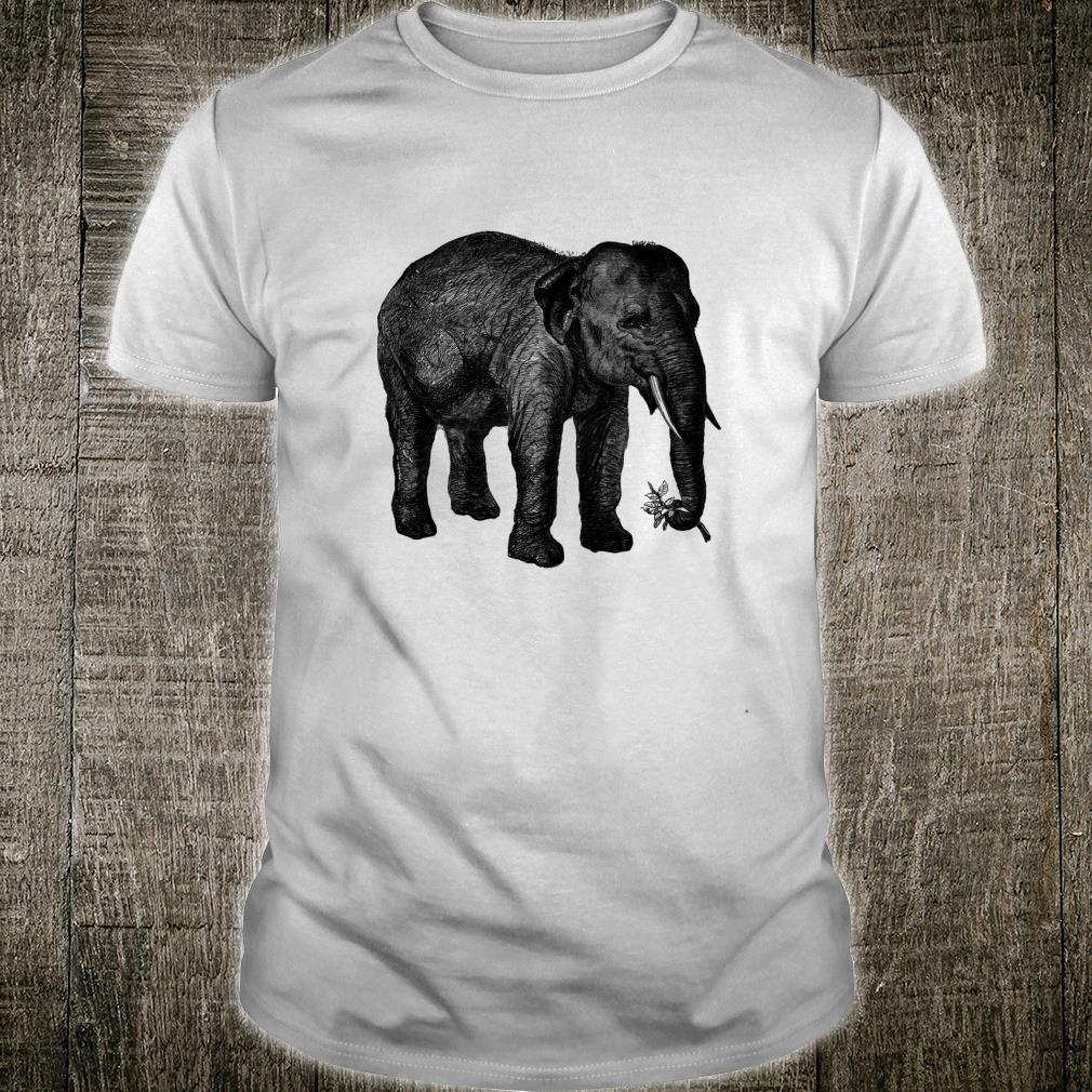 Elephant Holding a Flower Print Shirt