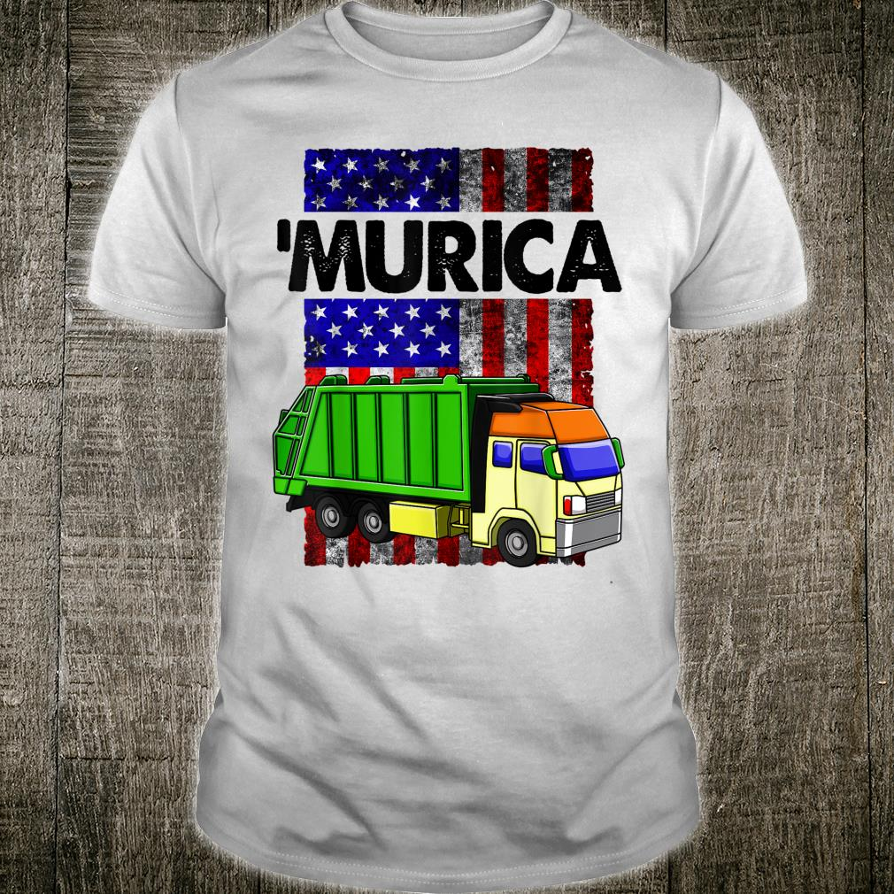 Funny America Flag Garbage Truck Patriotic Murica Shirt
