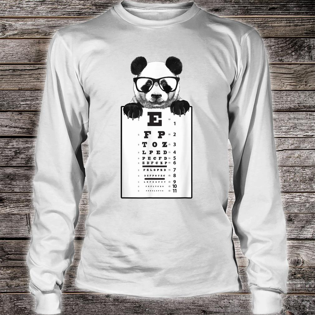 Funny Cute Panda Eye Chart with Glasses Shirt long sleeved