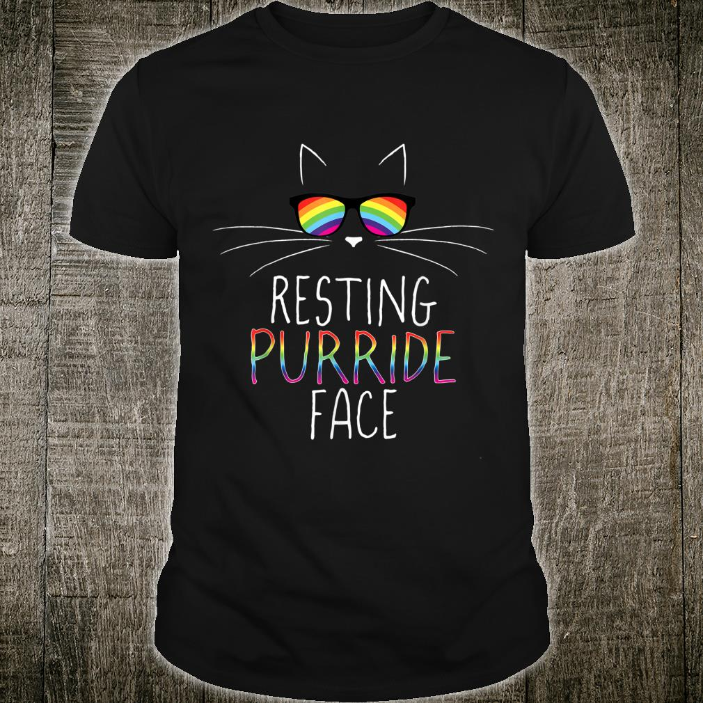 Funny Gay Pride Kitty Resting Purride Face Rainbow Cat Shirt