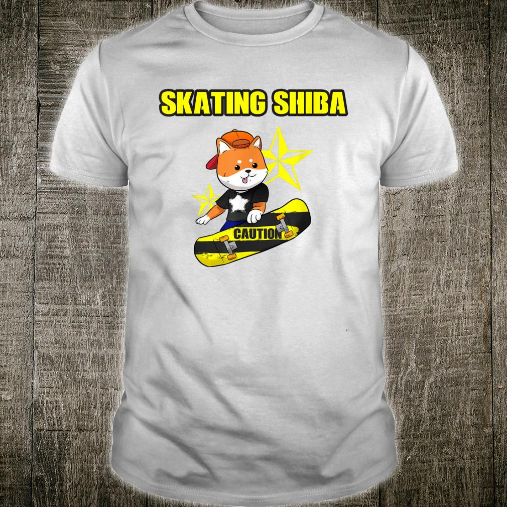 Funny Shiba Inu Uni Dog Skater Skateboard Star I Idea Shirt