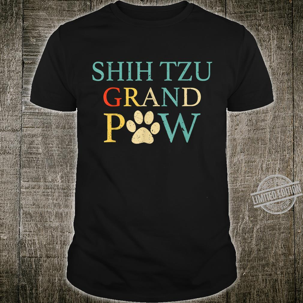 Funny Shih tzu Grand Paw Vintage Dogss Fathers Day Shirt