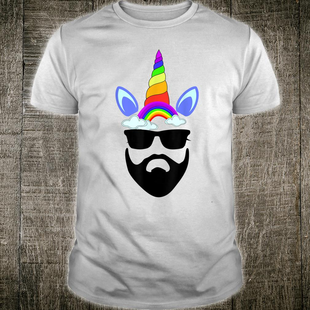 Funny Unicorn Hipster with Beard and sunglasses Shirt