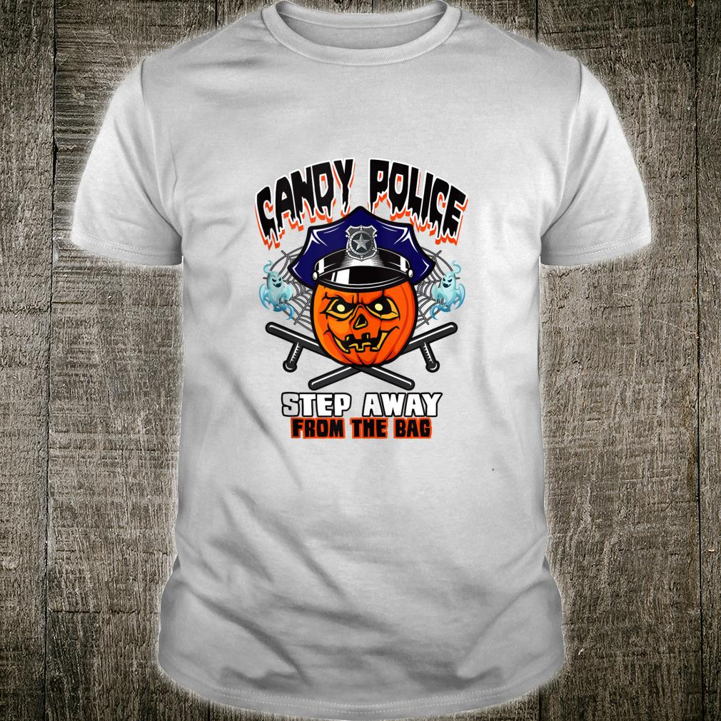 Halloween Police Costume Thin Blue Line Humor Candy Police Shirt