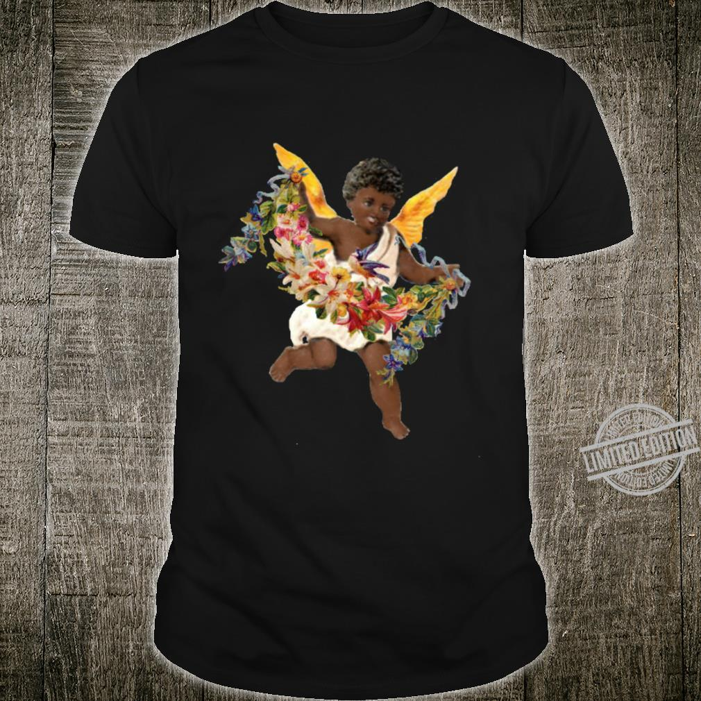 Heavenly African American Baby Angel and Flower Garland Shirt