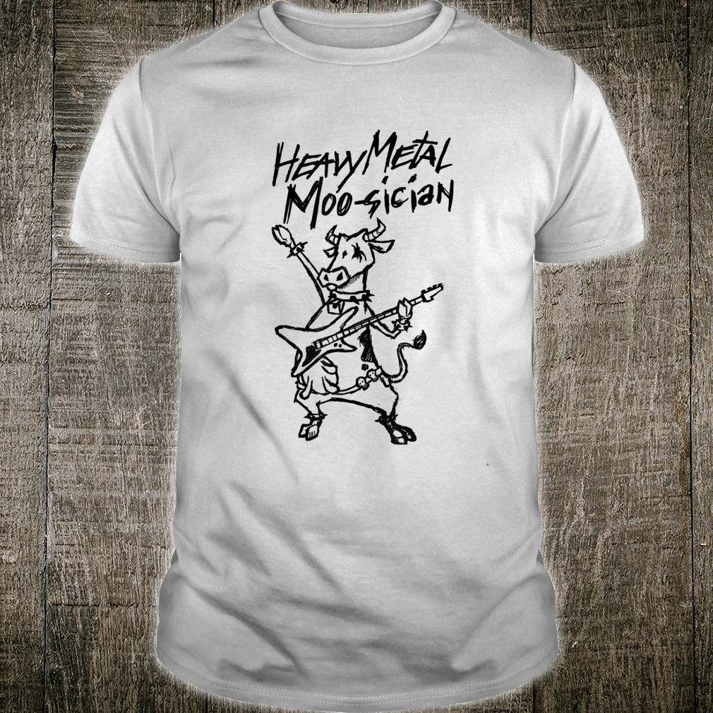 Heavy Metal Moosician Goth Bull Clothing Guitar Playing Cow Shirt
