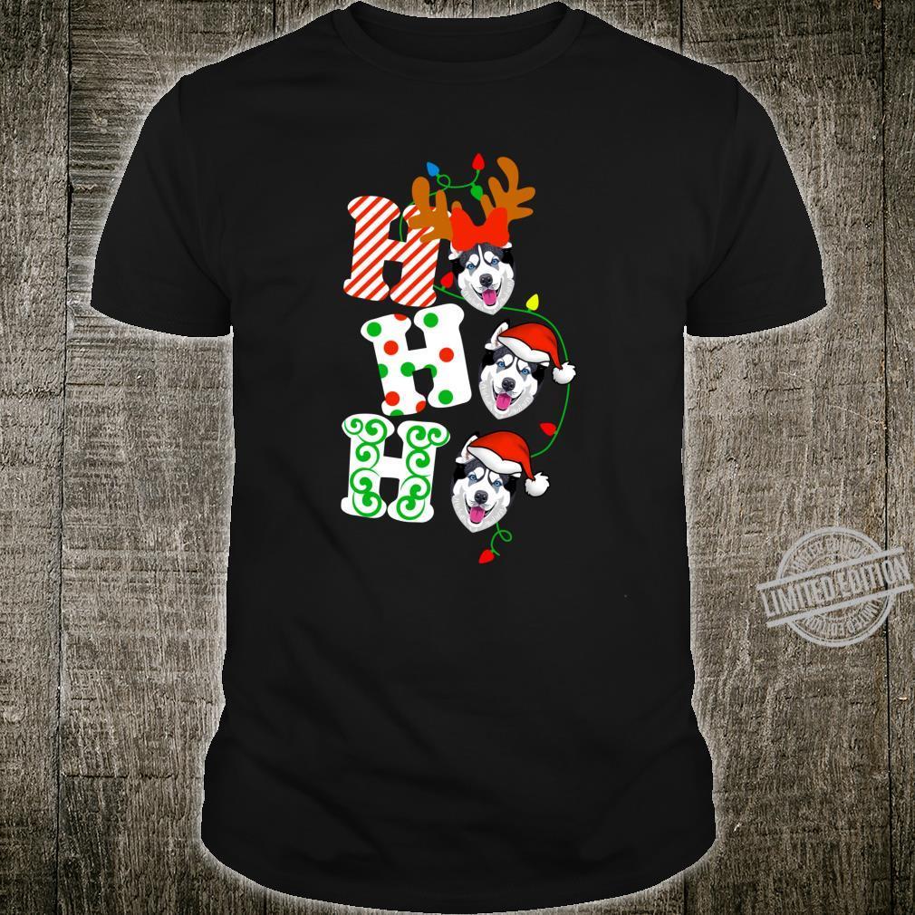 Ho Ho Ho Husky Dog Reindeer Christmas Shirt