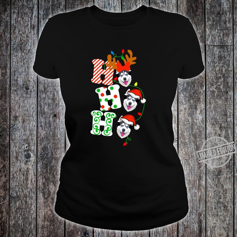 Ho Ho Ho Husky Dog Reindeer Christmas Shirt ladies tee