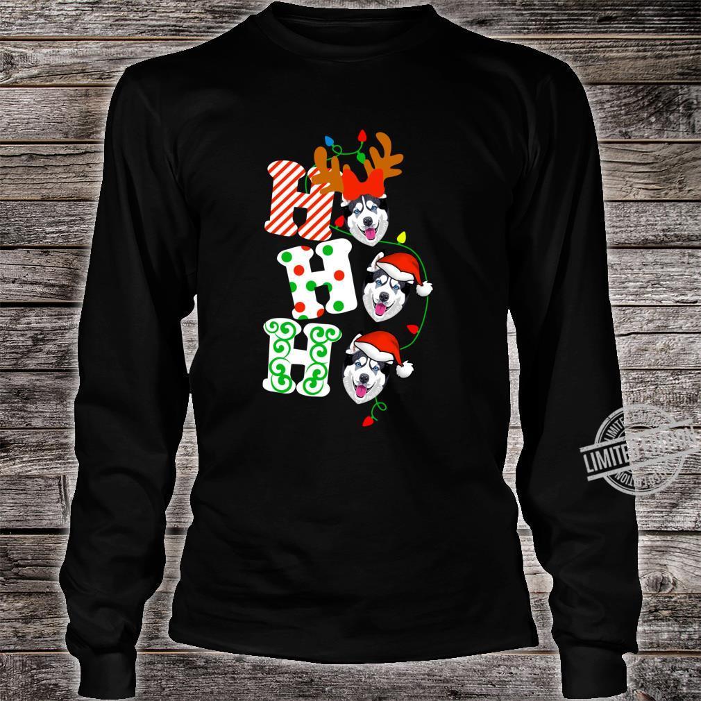 Ho Ho Ho Husky Dog Reindeer Christmas Shirt long sleeved
