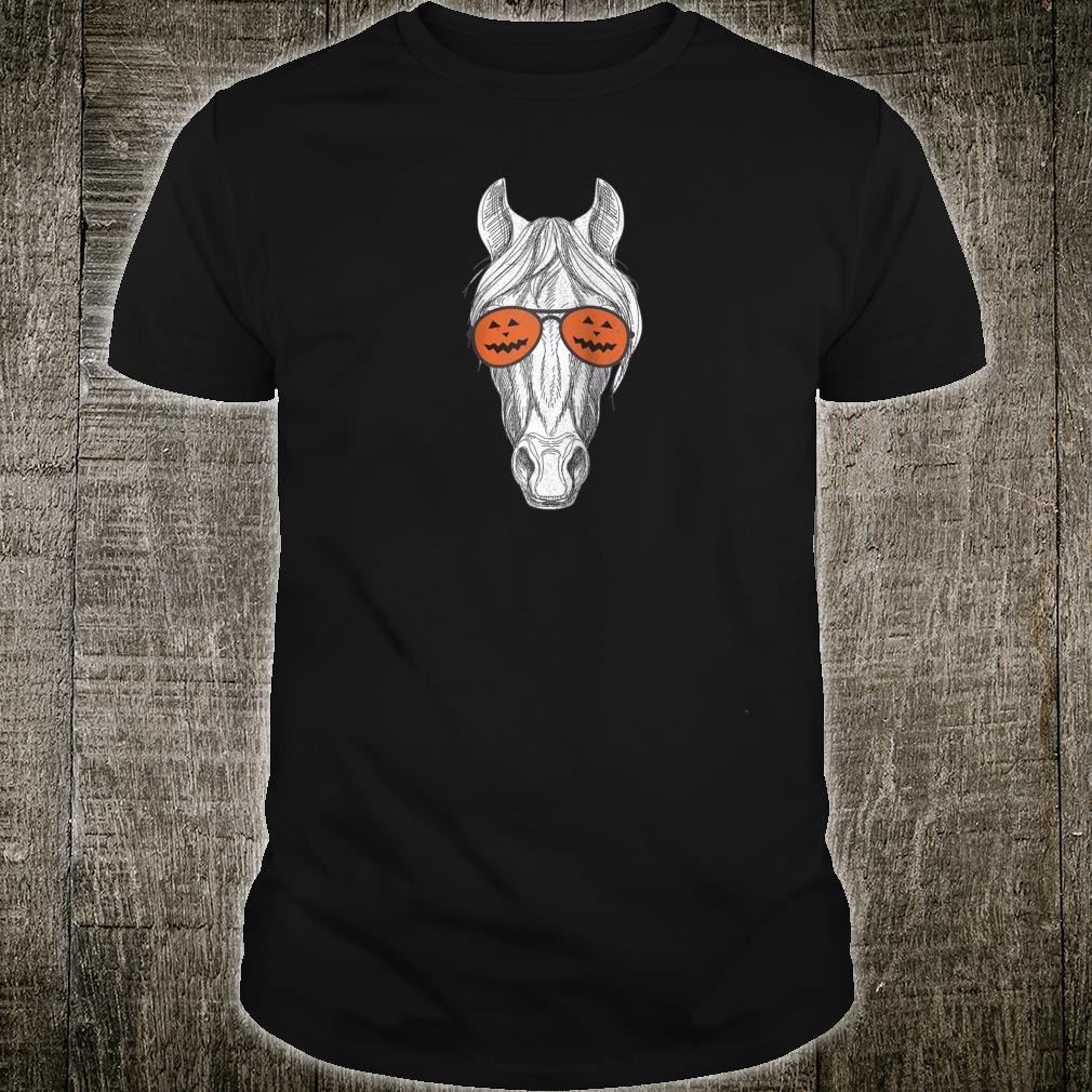 Horse Wearing Pumpkin Sunglasses Happy Halloween Horse Shirt